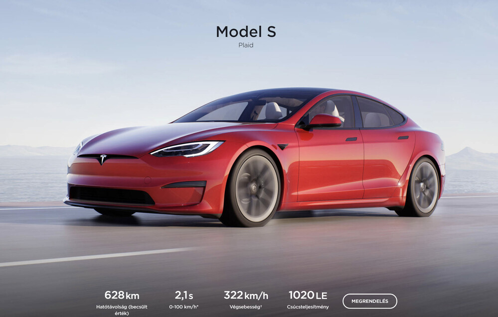 The Model S Plaid in the domestic configurator - European start in 2022, for 35 million